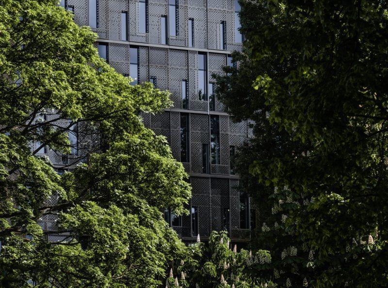 Byggnad som syns bakom träd