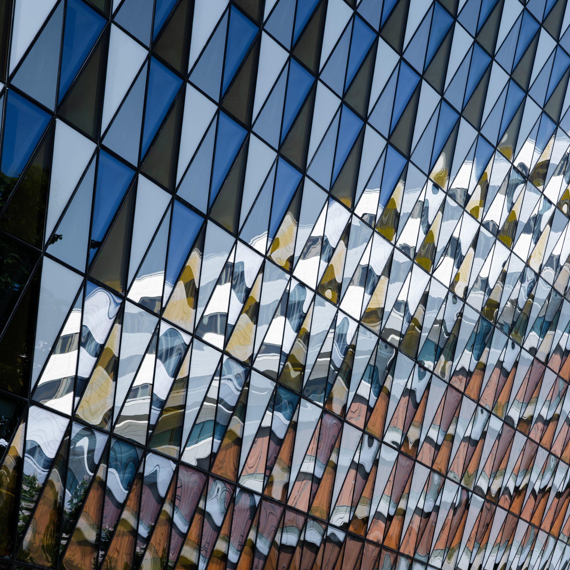 Reflections on house facade