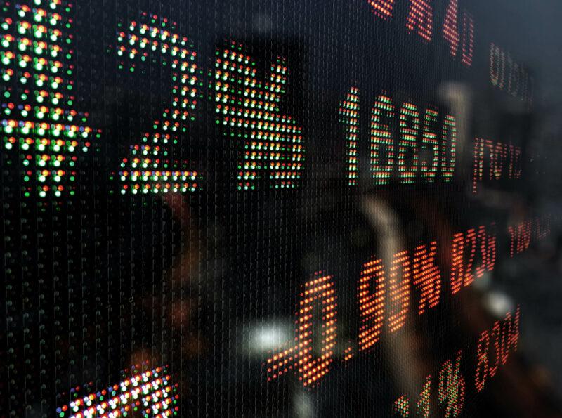 Närbild på siffror på svart skärm