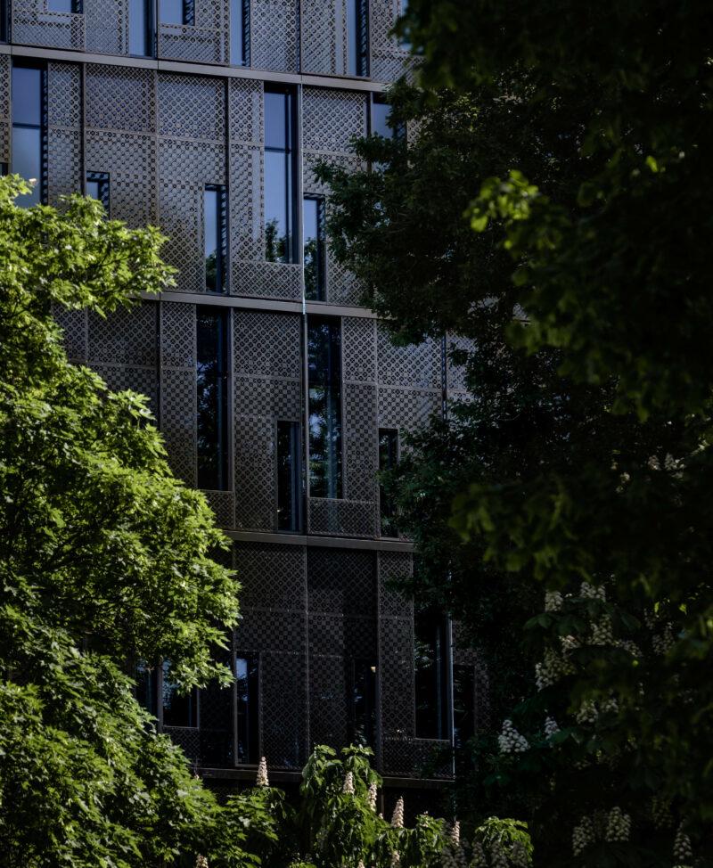 Byggnad skymtas bakom träd